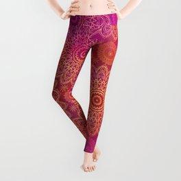 Mandala Watercolor Pattern pink orange Leggings