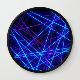 Neon Abstract Line -Blue and Purple, Black- Wall Clock