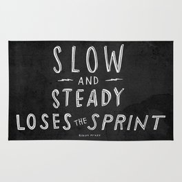 slow and steady loses the sprint blk&wht Rug