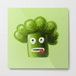 Funny Stressed Out Broccoli Metal Print