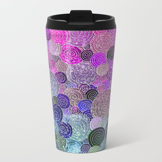 Abstract blue& purple glamour glitter circles and dots for Girls and ladies Metal Travel Mug