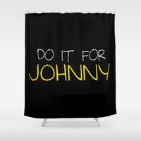 johnny depp Shower Curtains featuring Johnny by bitobots