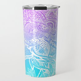 Modern purple turquoise mermaid watercolor floral white boho hand drawn pattern Travel Mug