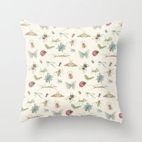 insects Throw Pillows featuring Insects by Little Holly Berry