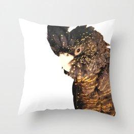 Black cockatoo illustration Throw Pillow