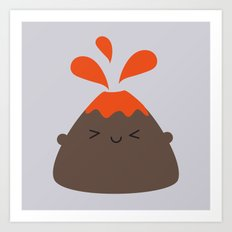 Happy Kawaii Volcano Art Print