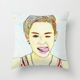 Miley Illustration Throw Pillow