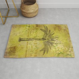 Vintage Journey palmtree typography travel collage Rug