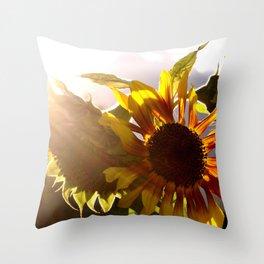 salute to the Sun as a sunflower Throw Pillow