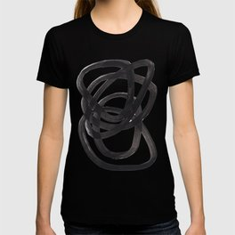 Black And White Minimalist Mid Century Abstract Ink Art Circle Swirls Black Circles Minimal T-shirt