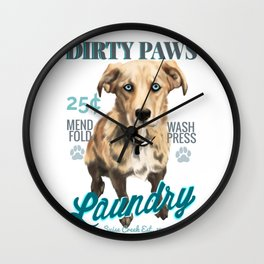 Dirty Paws Laundry Wall Clock