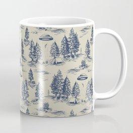 Alien Abduction Toile De Jouy Pattern in Blue Coffee Mug