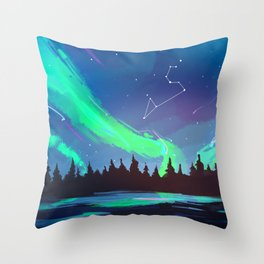 Northern Lights Leo Throw Pillow