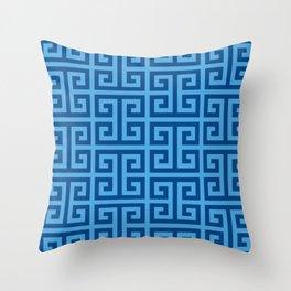 Denim and Bright Blue Greek Key Pattern Throw Pillow