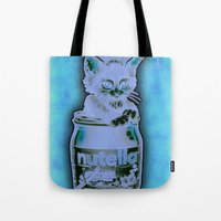 nutella Tote Bags featuring Kitten Loves Nutella by Tim Shumate