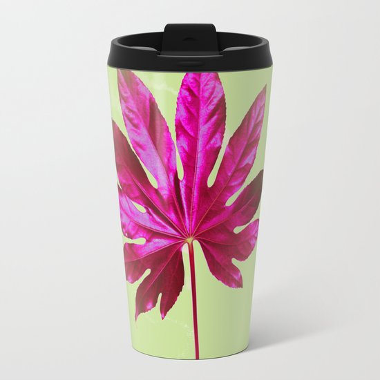 Large pink leaf on a olive green background - beautiful colors Metal Travel Mug