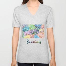 Rainbow Succulents Unisex V-Neck