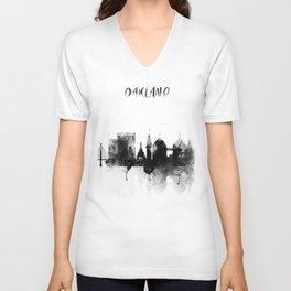 Oakland Black and White Skyline poster Unisex V-Neck