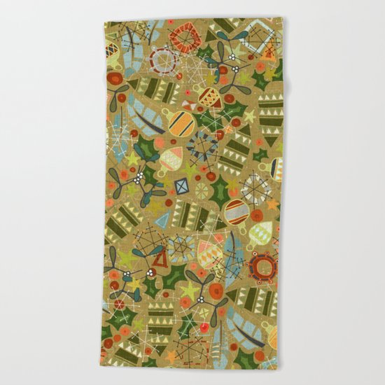 vintage christmas gold Beach Towel