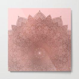 Dreamcatcher Sunset - abstract bronze rose gold mandala, blush pink Metal Print