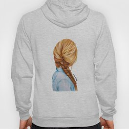 Blonde Fishtail Braid Girl Drawing  Hoody