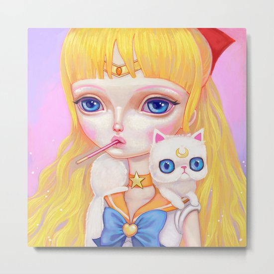 Sailor Venus Snacking On Pocky Metal Print