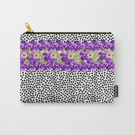 Modern black white watercolor polk dots pink purple flowers Carry-All Pouch