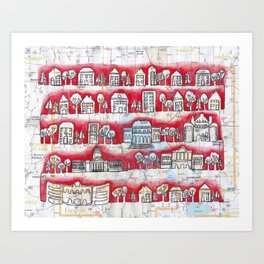 Madison, WI Neighborhoods Continuous Line Drawing on vintage map UW Badgers Art Print