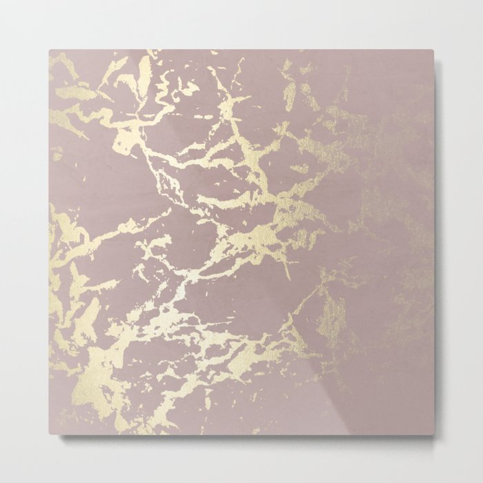 Kintsugi Ceramic Gold on Clay Pink Metal Print