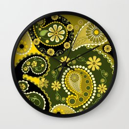 Paisley Patterns, Flowers and Circles Wall Clock