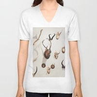 antler V-neck T-shirts featuring Antler Wall by Stacey Newman