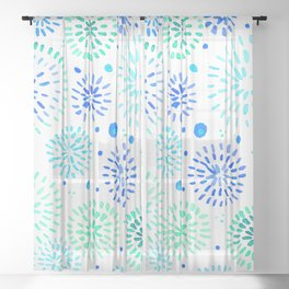 Abstract watercolor sparkles – aqua and blue Sheer Curtain
