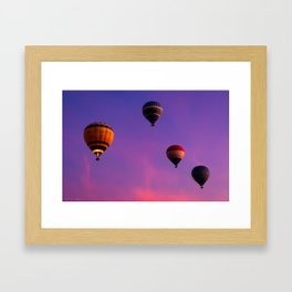 Hot Air Balloons In Flight In The Dawn Skies Over Egypt Framed Art Print