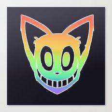 Rainbow Cat Head (white outline) Canvas Print