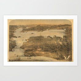 Bird's Eye View of San Francisco, California (1868) Art Print