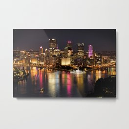 Pittsburgh, Pennsylvania At Night Metal Print