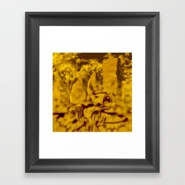 Apocalyptic standing stones and abandoned car Framed Art Print
