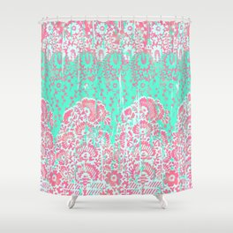 floral paisley in bright lime and pink Shower Curtain
