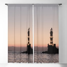 Lighthouse Sunset View In Greece Photo | Coast Of Crete Island Art Print | Europe Travel Photography Blackout Curtain