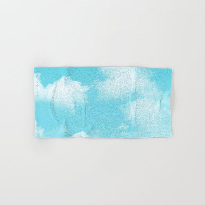Aqua Blue Clouds Hand & Bath Towel