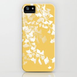 White Ginko leaves and yellow background iPhone Case