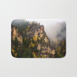 The Walls of Spearfish Canyon - Foggy Autumn Day in South Dakota Bath Mat