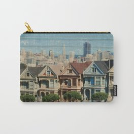 The Painted Ladies - Victorian Houses, San Francisco, California - Distressed Photo on Wood Carry-All Pouch