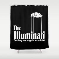 illuminati Shower Curtains featuring The Illuminati by RooDesign