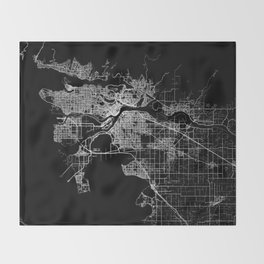 vancouver map canada Throw Blanket