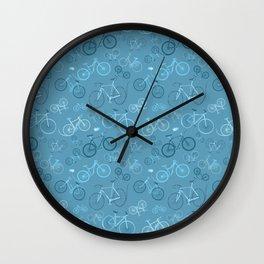 I love bikes in teal Wall Clock