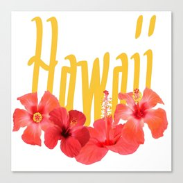 Hawaii Text With Aloha Hibiscus Garland Canvas Print
