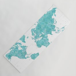Highly detailed watercolor world map in aquamarine Yoga Mat