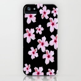 Tropical in black and pink iPhone Case