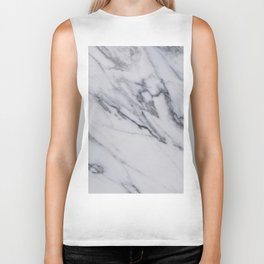 Marble - Black and White Gray Swirled Marble Design Biker Tank